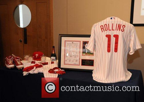 Atmosphere Jimmy Rollins presents Phillies' memorabilia at the...