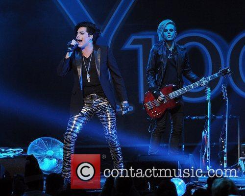 Adam Lambert performs at the Y100 Jingle Ball...