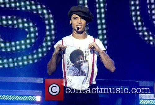 Aston Merrygold of JLS performing live on stage...