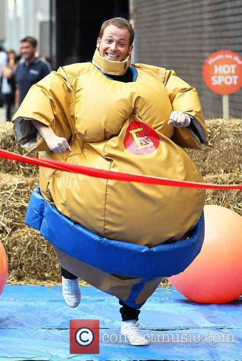Wearing a Sumo-wrestler costume while filming 'This Morning'