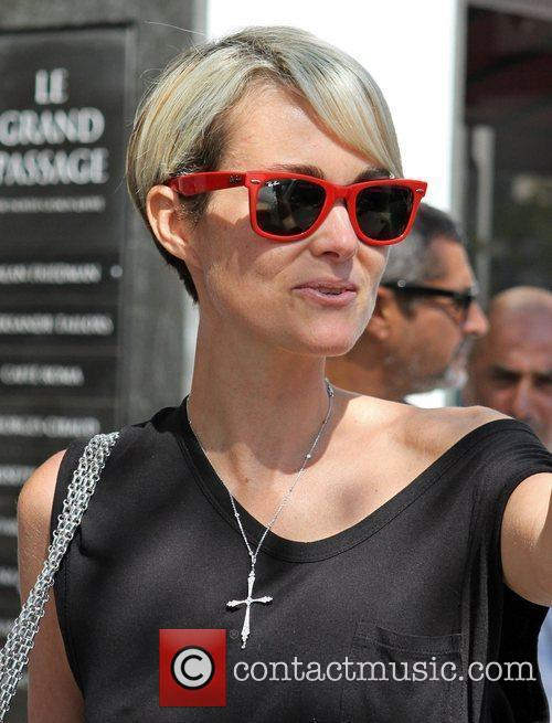 Laeticia Hallyday  leaving Cafe Roma after having...