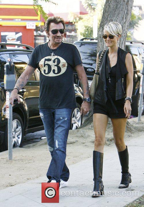 Johnny Hallyday and his wife Laeticia take a...