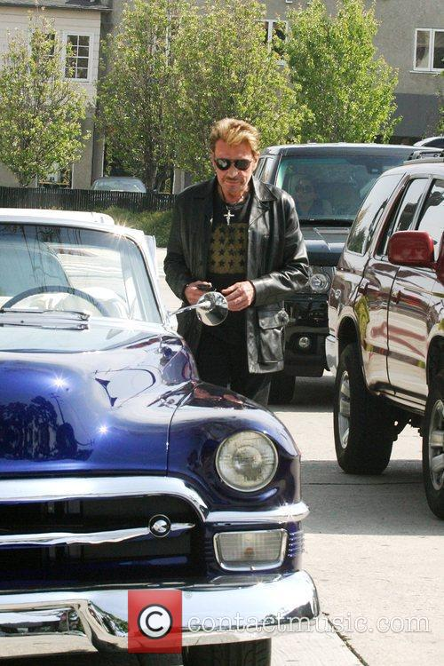 Johnny Hallyday leaving Sur Restaurant and Bar in...