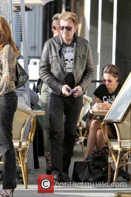 Johnny Hallyday leaving Cafe Roma in Beverly Hills...