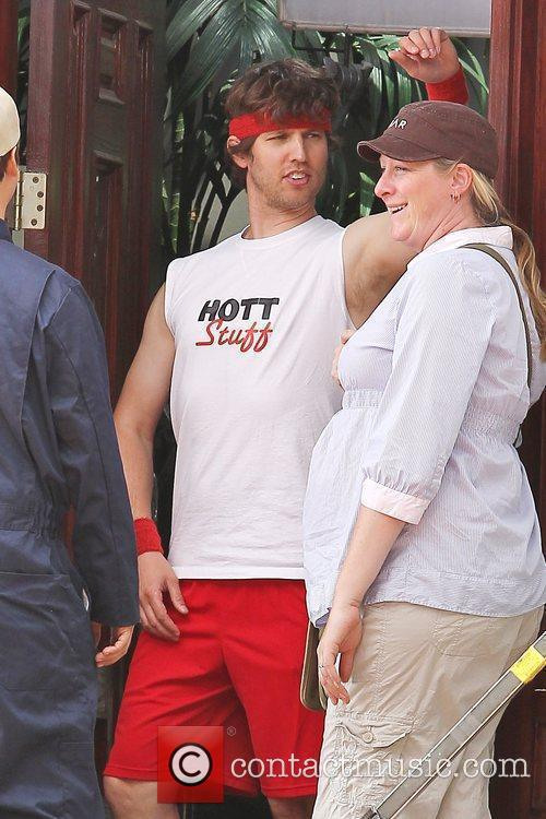 Jon Heder at a movie set filming in...