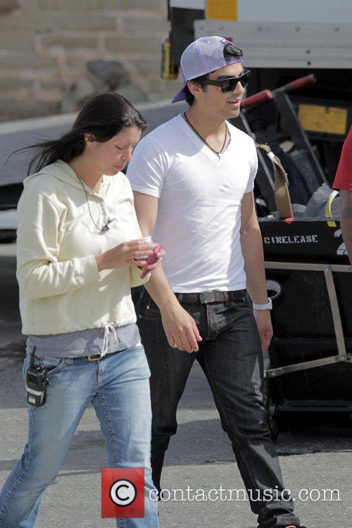 Joe Jonas filming on location for Season 2...