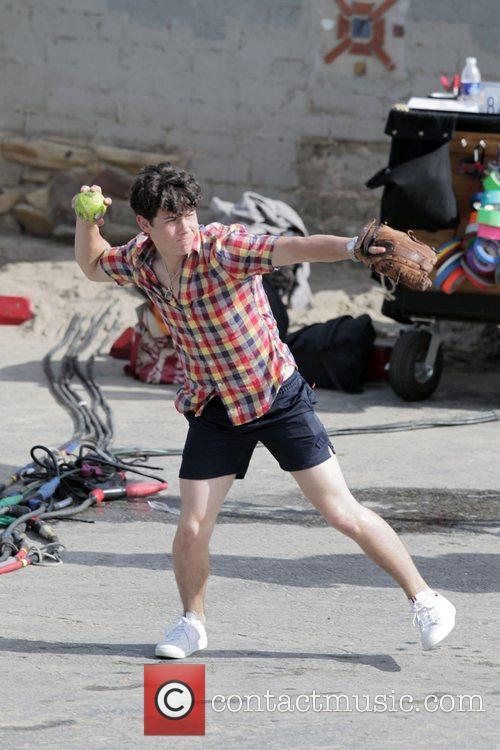 Nick Jonas  filming on location for Season...