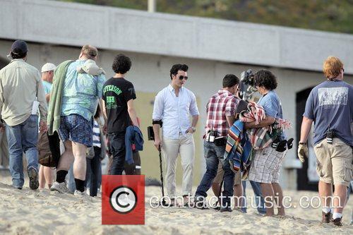 Kevin Jonas filming on location for Season 2...