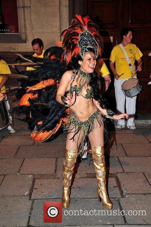 Brazilian dancers at the opening of new restaurant...