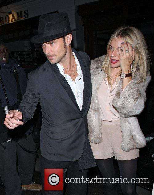 Jude Law and Sienna Miller leaving C London...