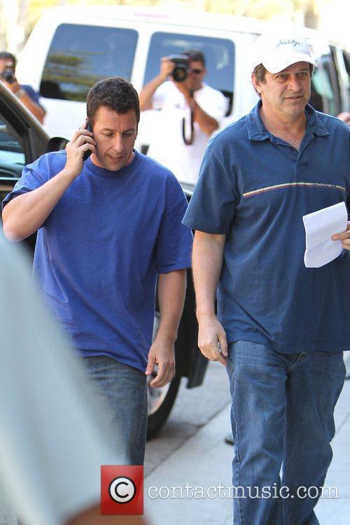 Adam Sandler and Allen Covert on the set...