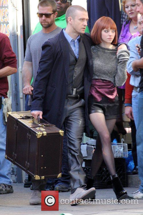 Justin Timberlake and Amanda Seyfried filming on location...