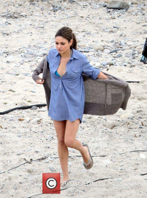 Filming 'Friends with Benefits' on location at a...