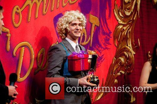 Justin Timberlake performs in a skit with Hasty...