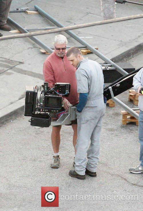 Justin Timberlake filming on location for the new...