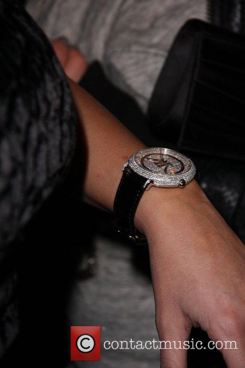 Arrives at the launch of her Bissmor Watch...