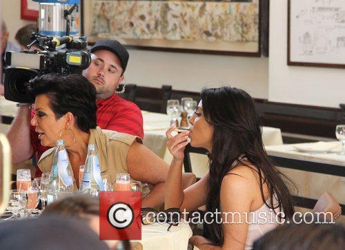 Kris Jenner and Kim Kardashian having lunch at...