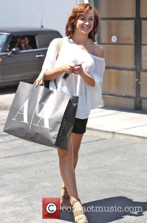 Is seen after shopping at the Armani Exchange...