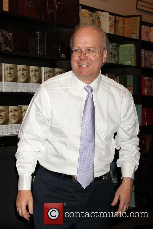 Karl Rove, Senior advisor, Deputy Chief of Staff to former President George W. Bush, signs copies of his new book 'Courage, Consequence: My Life as a Conservative in the Fight' at Barnes and Nobel 3
