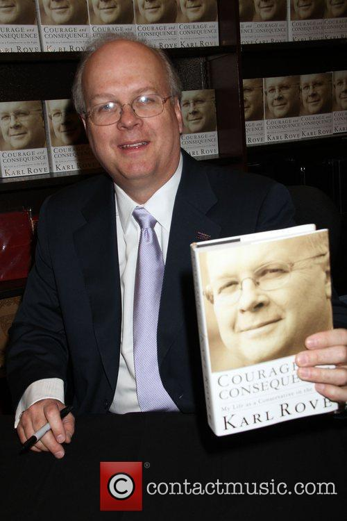 Karl Rove, Senior advisor, Deputy Chief of Staff to former President George W. Bush, signs copies of his new book 'Courage, Consequence: My Life as a Conservative in the Fight' at Barnes and Nobel 1