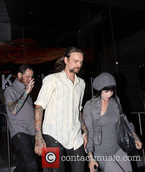 Kat Von Dee leaving Katsuya restaurant with friends