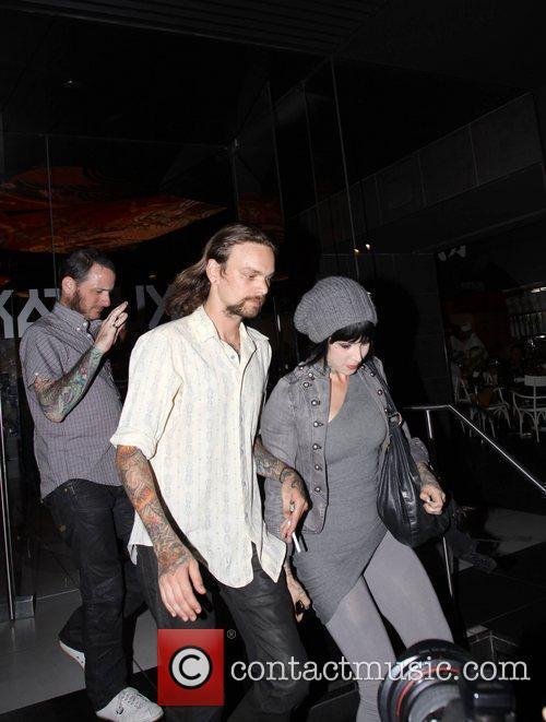 Kat Von Dee leaving Katsuya restaurant with friends...