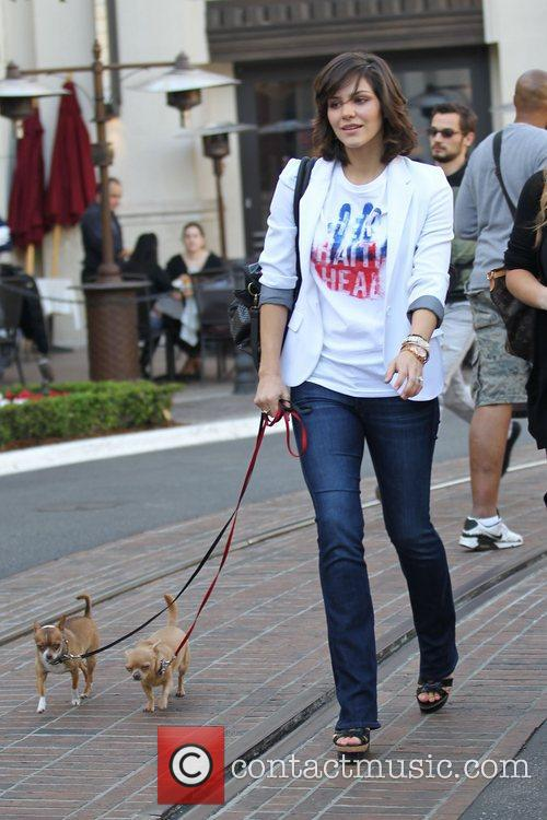Out shopping at 'The Grove' with her dogs.