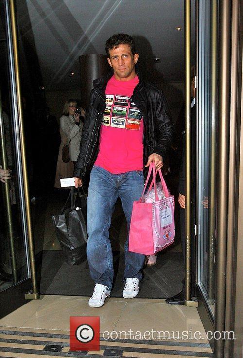 Alex Reid  leaving the May Fair hotel...