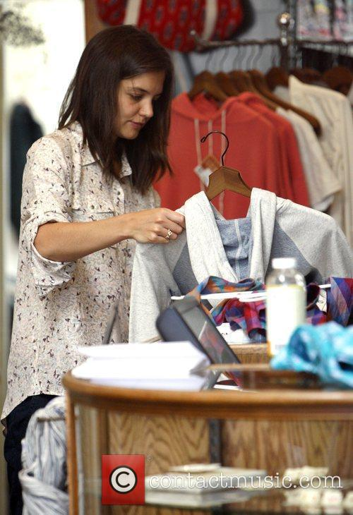 Katie Holmes shops on Robertson Boulevard with her...