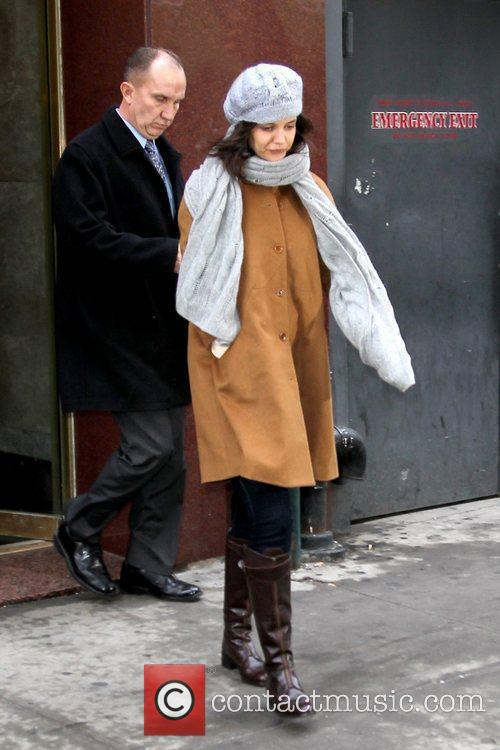 Katie Holmes leaving an office building in Manhattan...