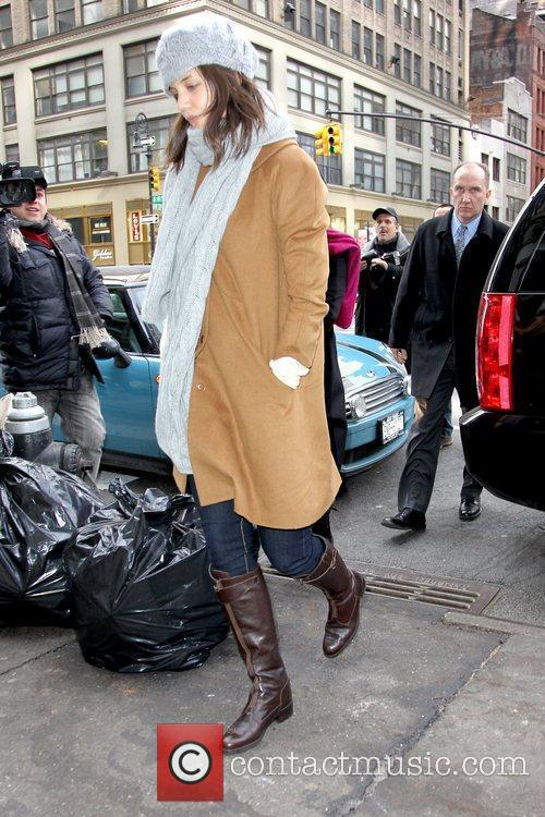 Jeanne Yang leaving an office building in Manhattan...