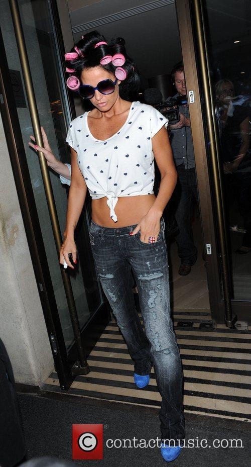 Katie Price aka Jordan leaving the Soho hotel...