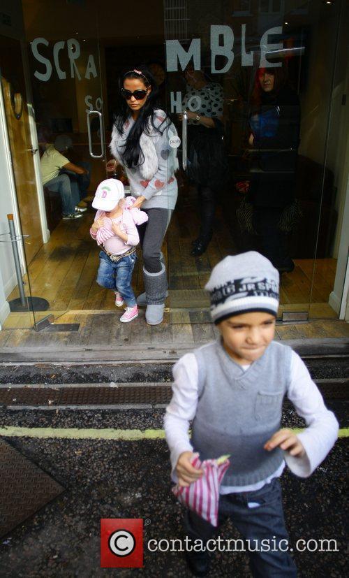 Katie Price with children Junior and Princess Tiaamii...