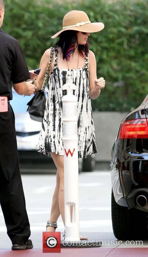 Katy Perry arriving with her fiance to a...