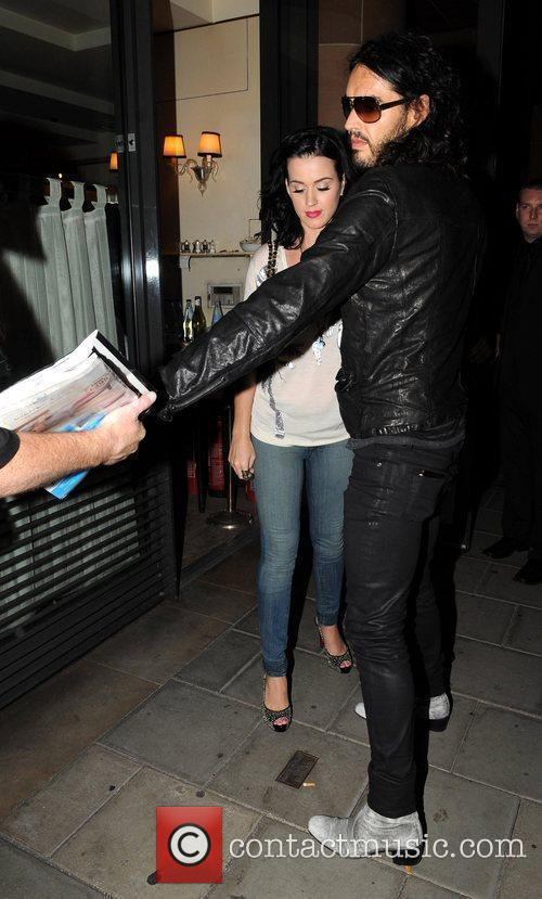 Katy Perry and Russell Brand leave C London...