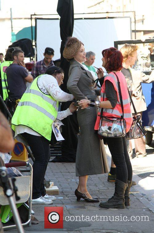 Keeley Hawes and extras on set of 'Upstairs...