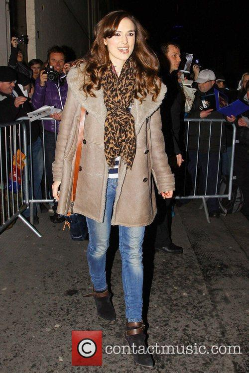 Keira Knightley leaving the Comedy Theatre after she...