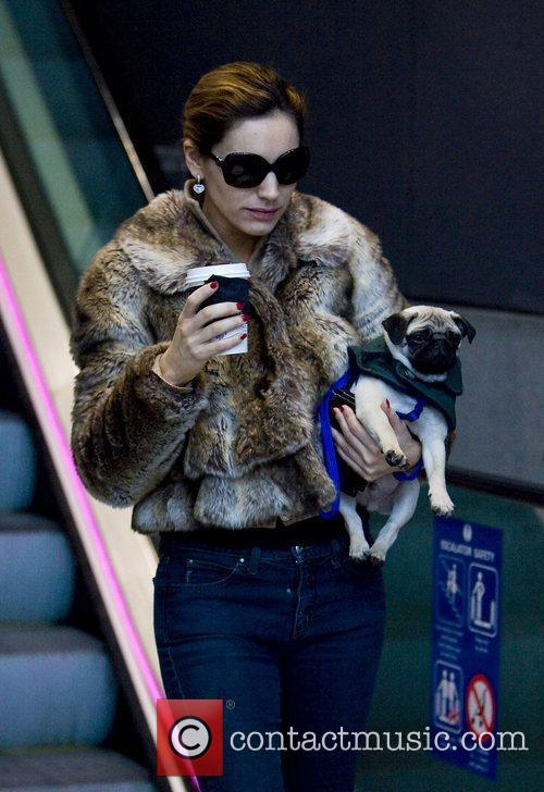 Carrying her dog while out and about during...