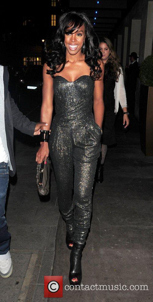 Arriving at Nobu restaurant wearing a strapless jumpsuit