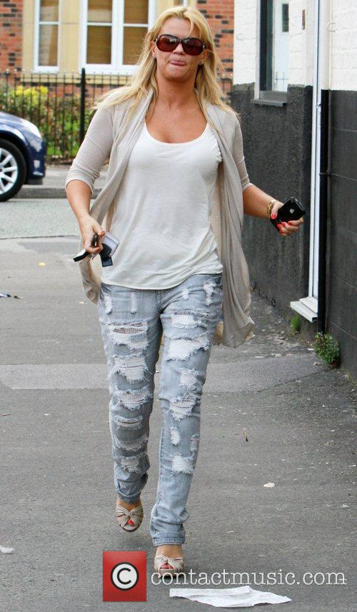 Kerry Katona leaving a salon wearing sunglasses and...