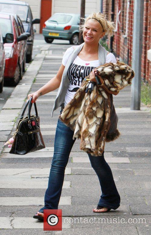 Kerry Katona leaving her mum's house Warrington, England