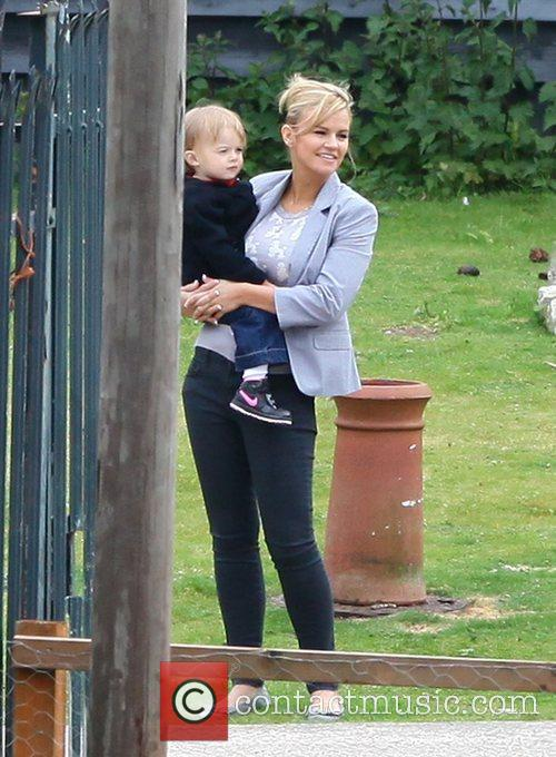 Kerry Katona and her son Max outside their...