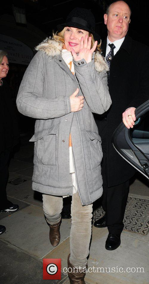 Kim Cattrall  leaving the Vaudeville Theatre after...