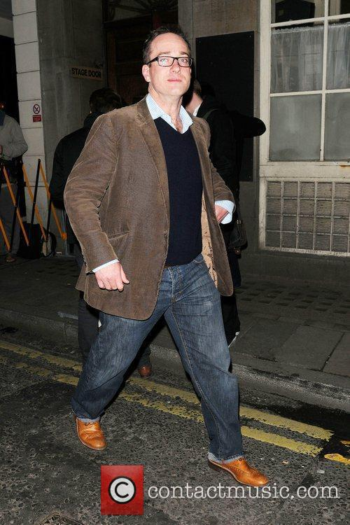 Matthew Macfadyen leaves the Vaudeville Theatre having performed...
