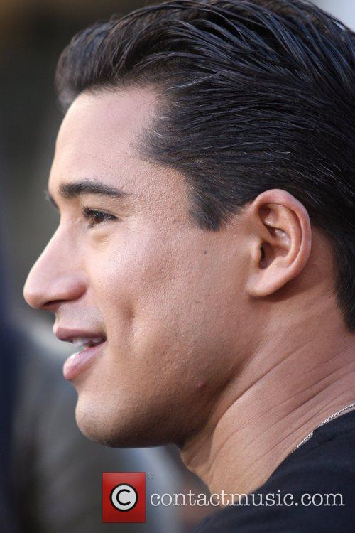 Mario Lopez filming an interview for entertainment television...