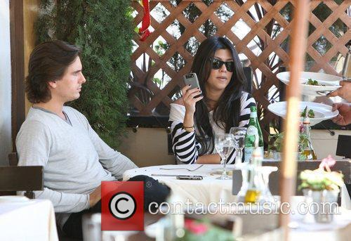Kourtney Kardashian, her fiance, Scott Disick and having lunch at a Beverly Hills restaurant 5