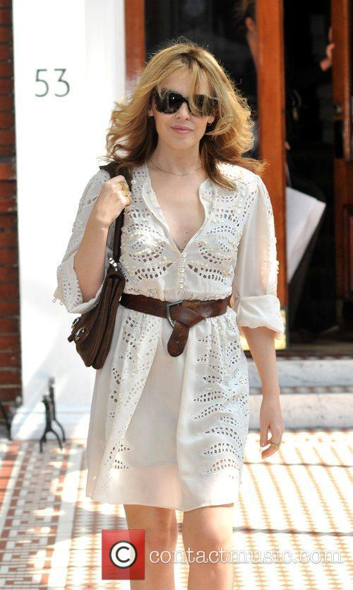 Kylie Minogue leaving her apartment on a glorious...