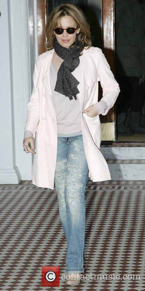 Kylie Minogue leaving home wearing designer worn look...