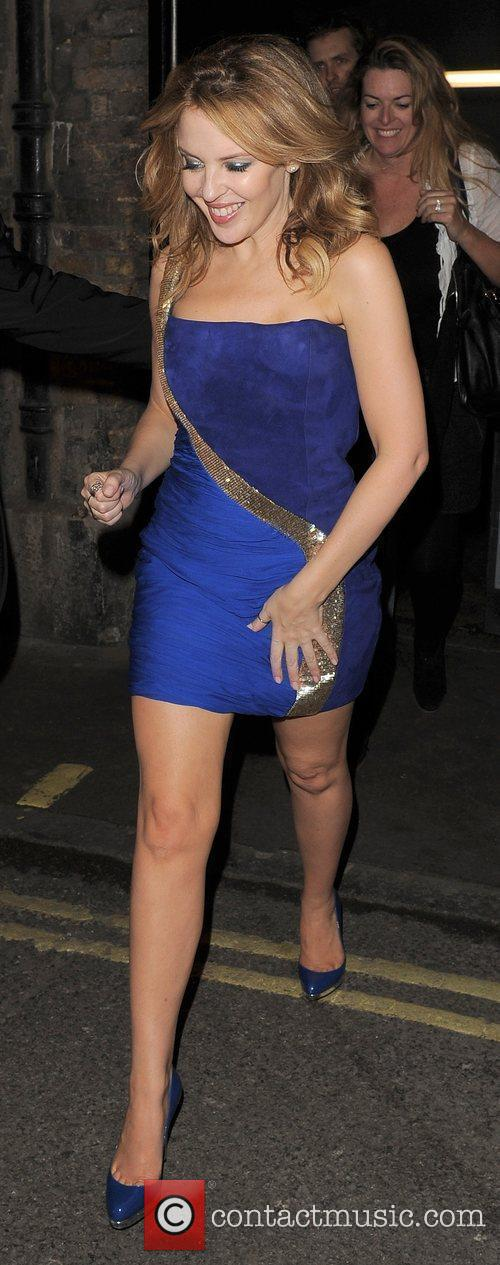 Kylie Minogue leaving Movida nightclub at 2am, appearing...
