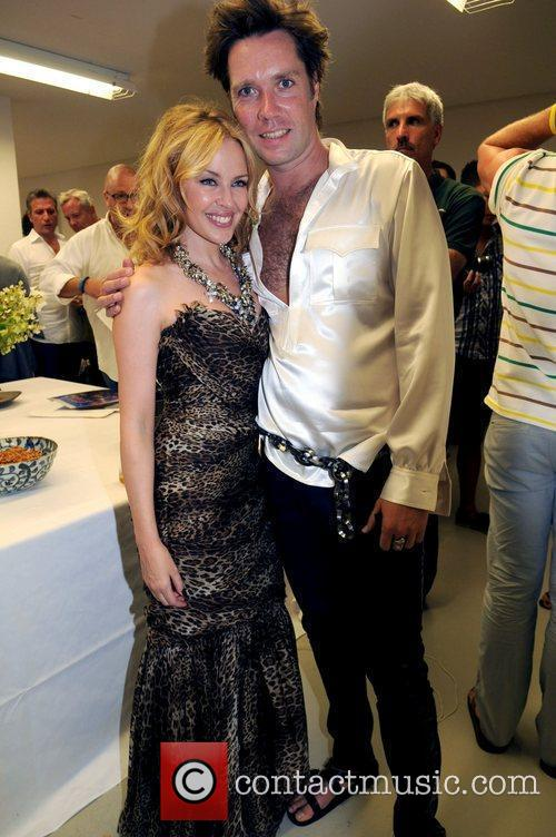Kylie Minogue and Rufus Wainwright backstage before performing...